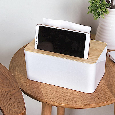 E.City_北歐風手機卡槽款木蓋質感紙巾盒