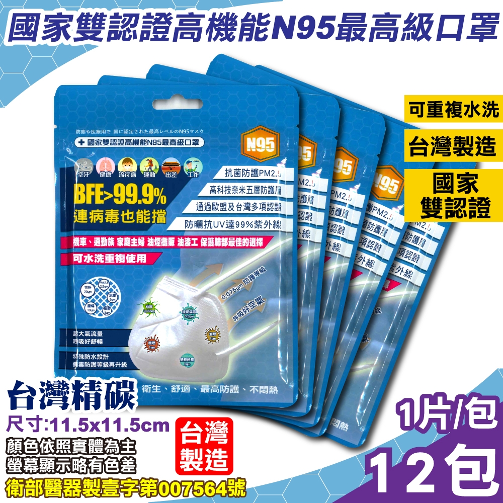 台灣精碳 N95醫用口罩 1入x12包 (國家認證 可水洗重複使用 台灣製)