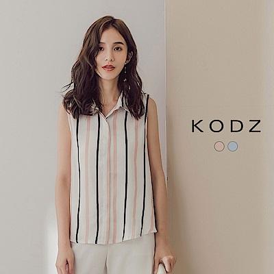 東京著衣-KODZ 簡約美人直條無袖襯衫-S.M.L(共二色)