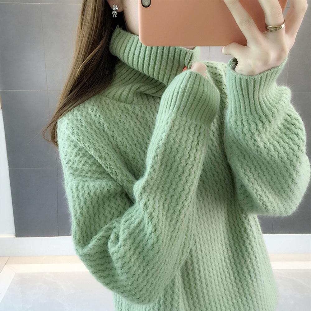 初色  高領純色針織毛衣-共4色-(F可選)
