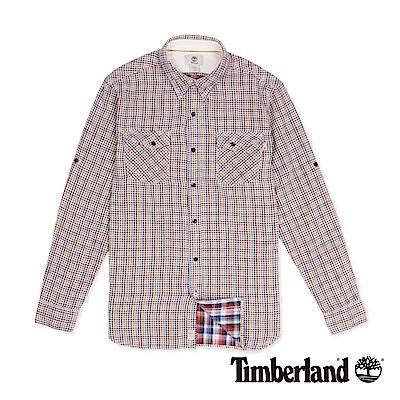 Timberland 男款暗紅色雙口袋格紋長袖襯衫
