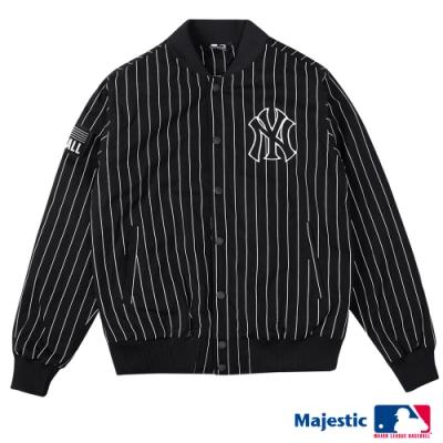 MLB-洋基隊經典線條棒球外套-黑 (男)