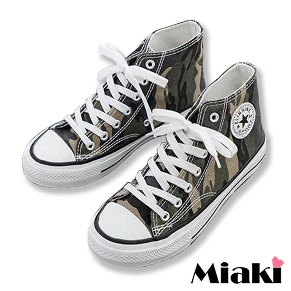 Miaki-帆布鞋迷彩時尚厚底休閒鞋