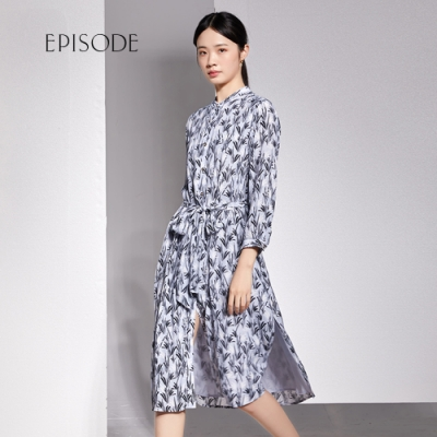 EPISODE - 氣質優雅綁帶印花開叉洋裝