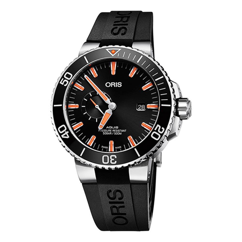 ORIS 豪利時 Aquis 500米潛水自動機械錶x橘x黑45.5mm