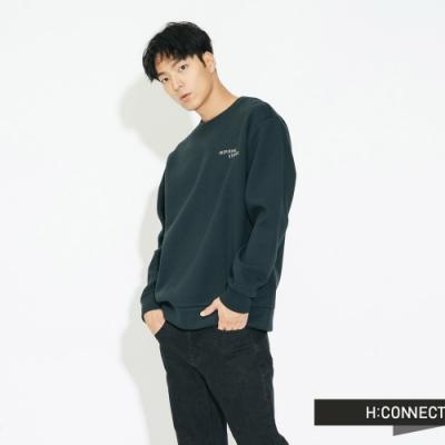H:CONNECT 韓國品牌 男裝 - 後圖印棉質大學T - 藍綠色