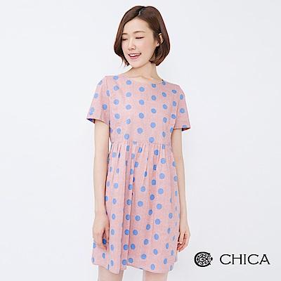 CHICA 盛夏午茶圓點格紋娃娃洋裝(2色)