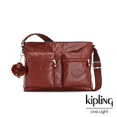 Kipling雅緻紅褐素面側背包-CORALIE