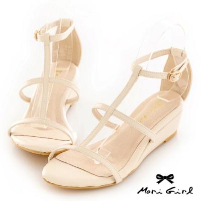 Mori girl鏤空線條楔型低跟涼鞋 白
