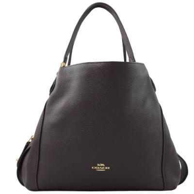 COACH 專櫃款金屬logo荔枝牛皮三層造型肩背包(深紫咖)