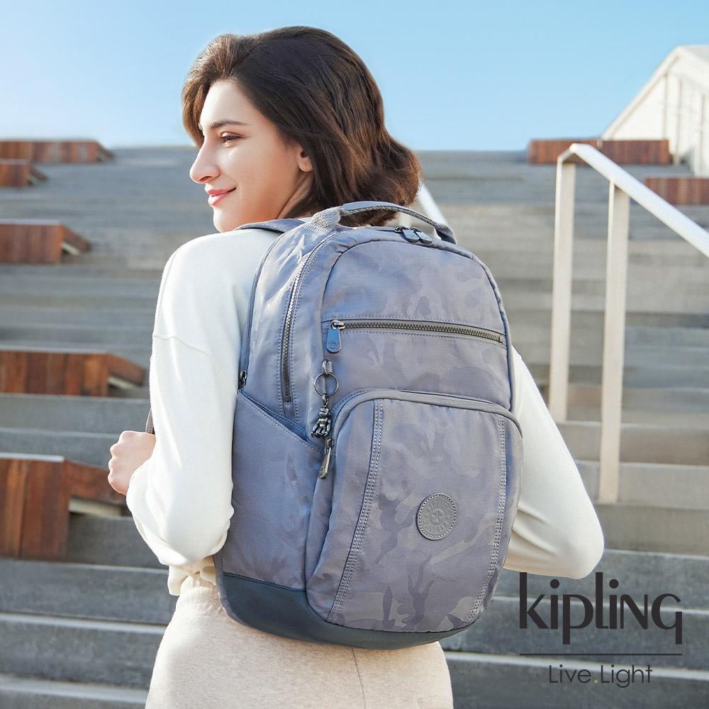 Kipling 光澤霧灰紫迷彩前後雙層收納後背包-TROY