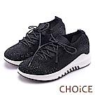 CHOiCE 華麗運動風 水鑽布面綁帶休閒鞋-黑色