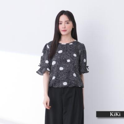 【KiKi】透氣清爽點點印花-襯衫(二色/版型顯瘦)