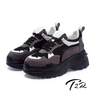 T2R-正韓空運-麂皮透氣網布隱形內增高厚底老爹鞋-增高8公分-黑