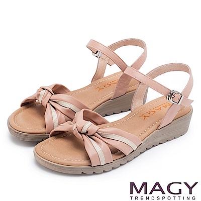 MAGY 夏日甜心 扭結交叉雙色牛皮楔型涼鞋-粉紅