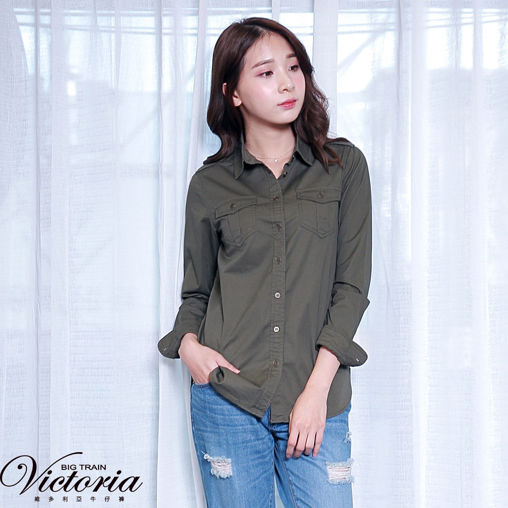 Victoria 水洗休閒長袖襯衫-女-軍綠 product image 1