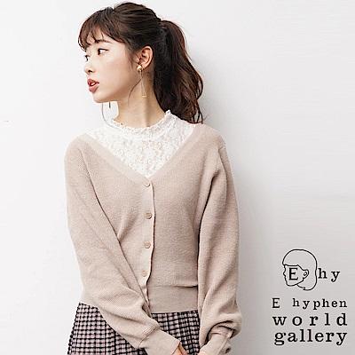 E hyphen 高領透膚蕾絲背心+2WAY開襟罩衫