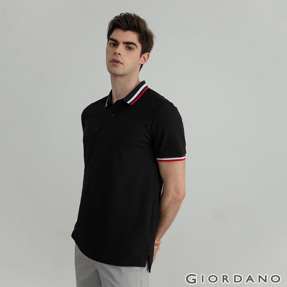 GIORDANO 男裝素色線條POLO衫 - 09 標誌黑