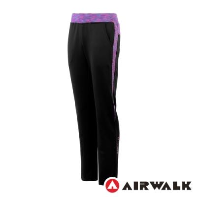 【AIRWALK】休閒針織長褲-女-黑/紫