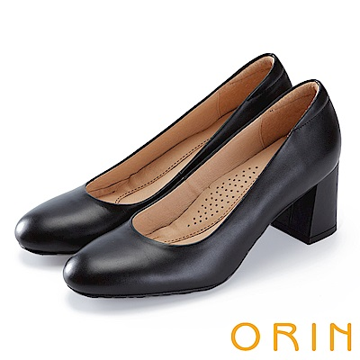 ORIN 都會時尚 嚴選牛皮典雅素面高跟鞋-黑色