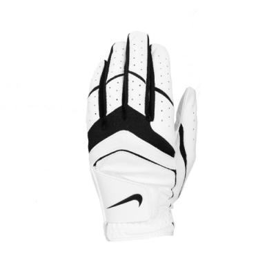 Nike 手套 Dura Feel Golf Gloves 高爾夫球 左手 單支入 皮革 魔鬼氈 白 黑 N0001984284