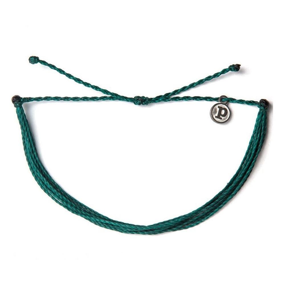 Pura Vida 美國手工 SOLID TEAL 暗青色基本繽紛款可調式衝浪手環