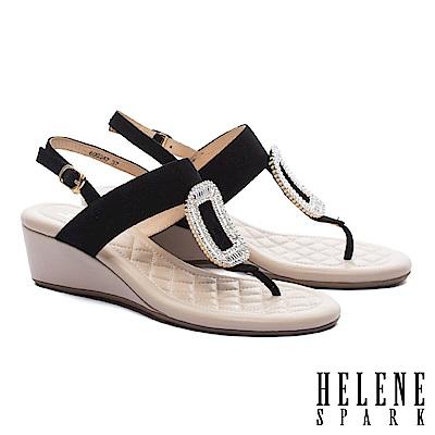 涼鞋 HELENE SPARK 璀璨晶鑽方飾釦羊麂皮T字楔型高跟涼鞋-黑