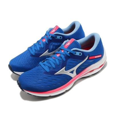 Mizuno 慢跑鞋 Wave Rider 24 運動休閒 女鞋 美津濃 緩震 透氣 球鞋穿搭 藍 紅 J1GD200320
