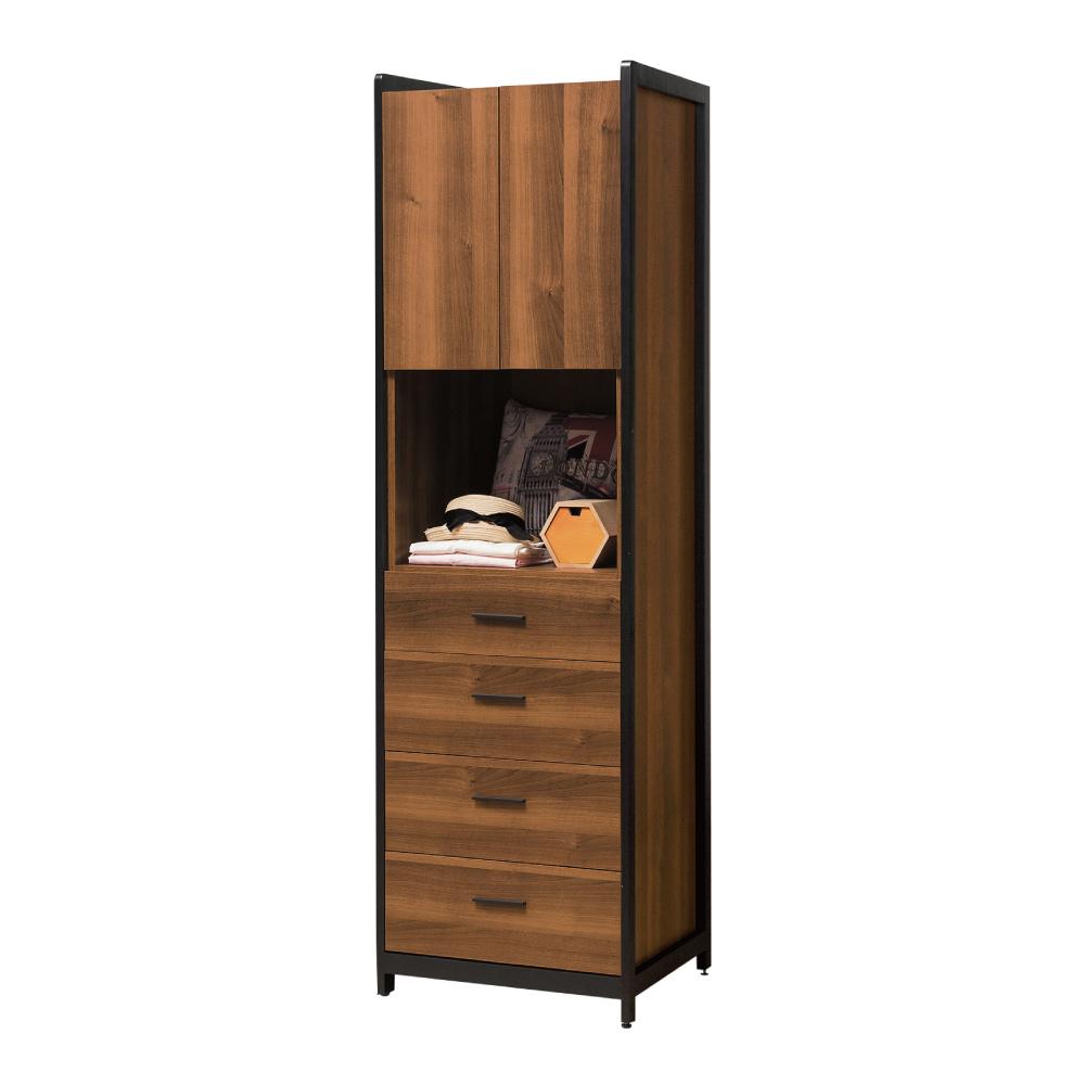 文創集 普艾爾時尚2尺四抽二門衣櫃/收納櫃-60x60x202cm免組