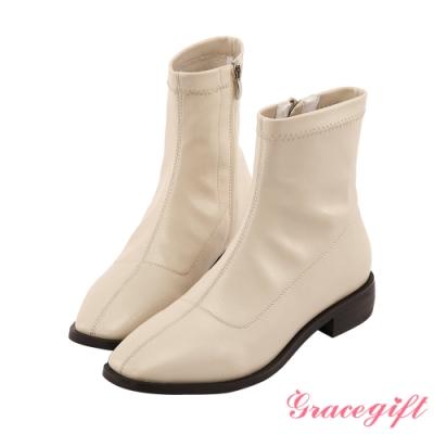 Grace gift-木紋方頭車線短靴 米白