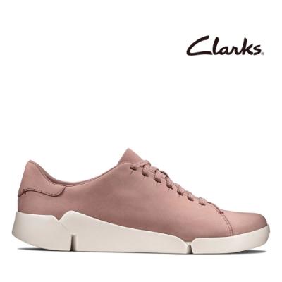 Clarks 運動行風  小圓頭真皮綁帶三瓣底輕量休閒鞋 藕粉