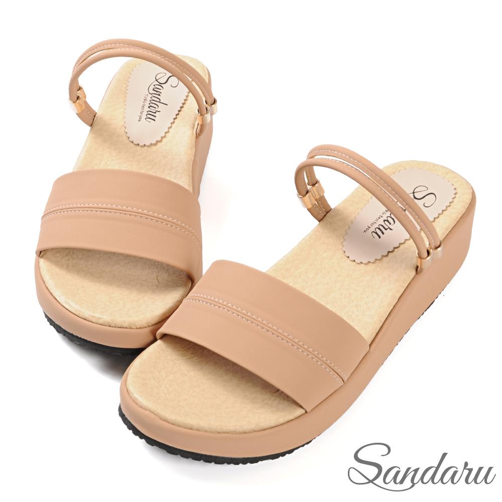 山打努SANDARU-涼鞋 簡約百搭寬版兩穿厚底涼鞋-粉 (粉)