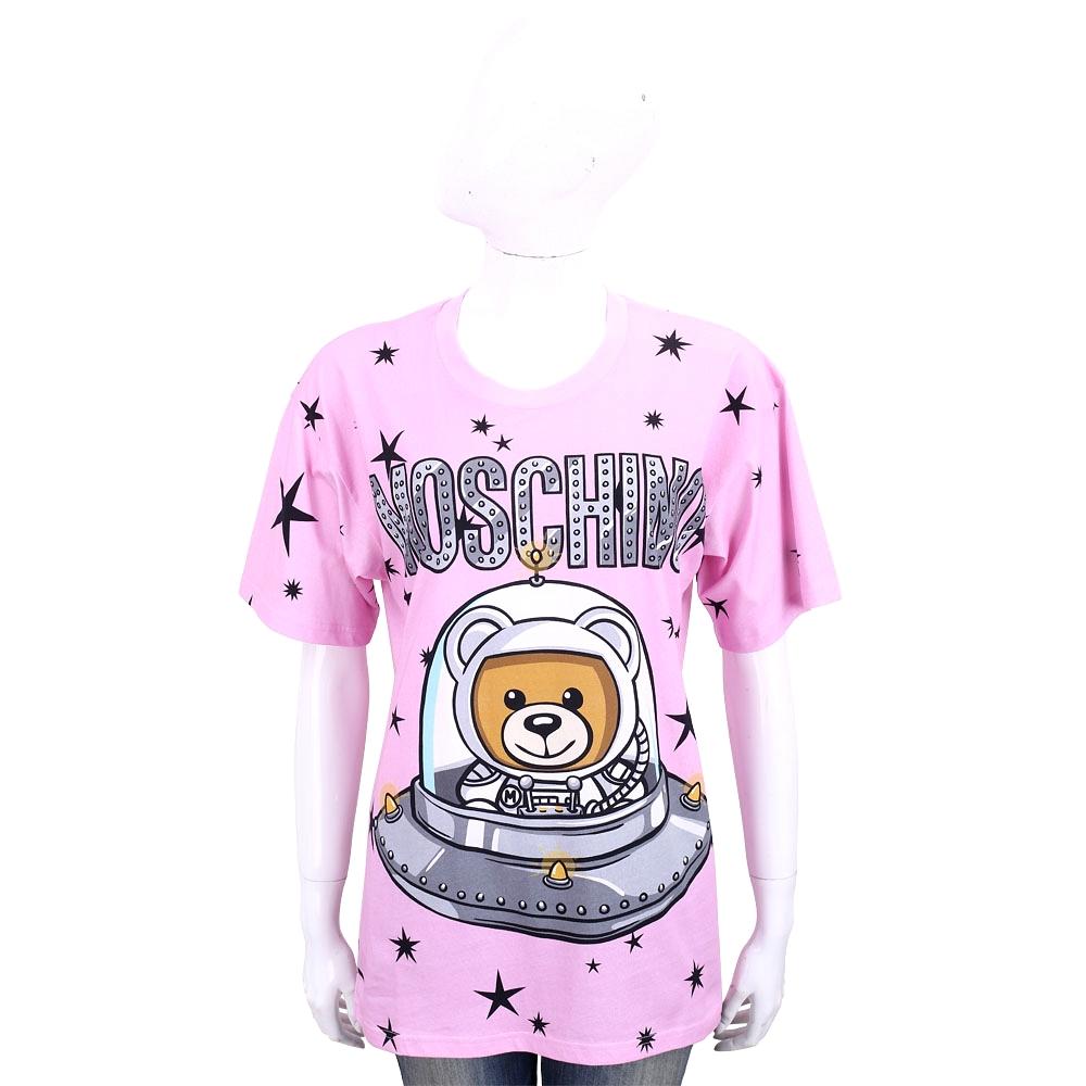 MOSCHINO 太空熊星星圖案粉色棉質長版短袖T恤