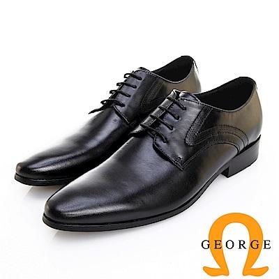 GEORGE 喬治皮鞋 職人系列 素面漸層刷色繫帶紳士鞋 -黑