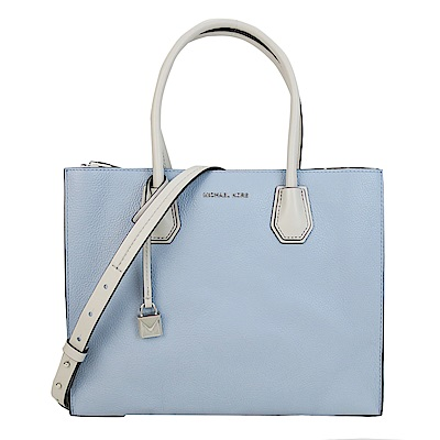 MICHAEL KORS MERCER 三色牛皮手提肩背包(大/灰藍X白)(展示品)