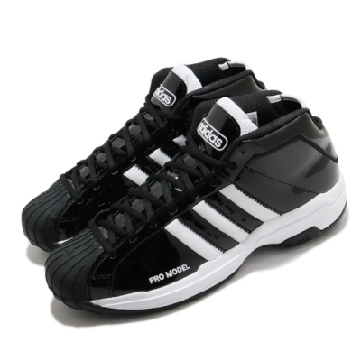 adidas 籃球鞋 Pro Model 2G 運動 男鞋 海外限定 愛迪達 皮革 中筒 穿搭 黑 白 EF9821