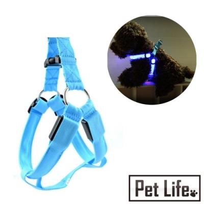 Pet Life LED寵物貓狗發光胸背帶/夜間散步夜光圈 M
