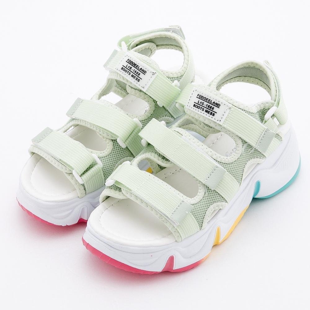 River&Moon涼鞋 明星時尚繽紛厚底運動涼鞋 綠