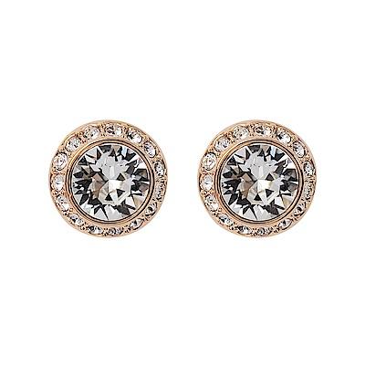 SWAROVSKI 施華洛世奇 璀璨水晶圓型玫瑰金色耳環