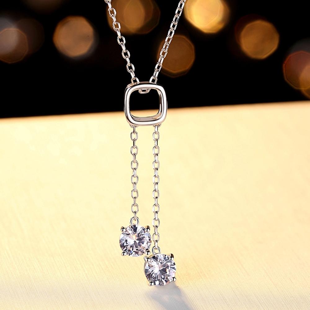 米蘭精品 莫桑鑽項鍊925純銀吊墜-0.8ct鏤空方框流蘇聖誕節情人節生日禮物女飾品73yk18