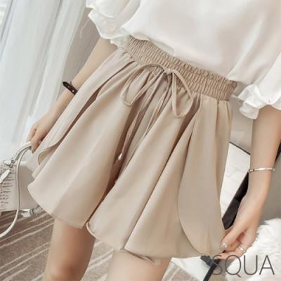 SQUA 裝飾繫帶層次雪紡短褲-二色-(M~XL)
