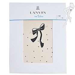 LANVIN en bleu 經典左大腿牌蝴蝶字母LOGO細網花紋襪(膚色)