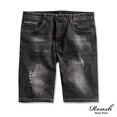 Roush 刷白抽鬚黑色牛仔短褲