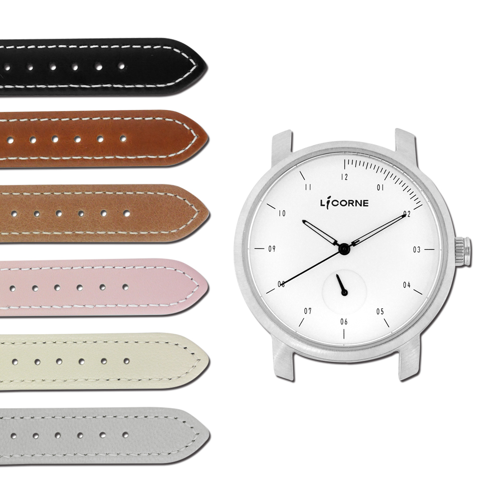 LICORNE力抗  MYO 藍寶石玻璃 可替換自由搭配真皮手錶-白黑色/38mm