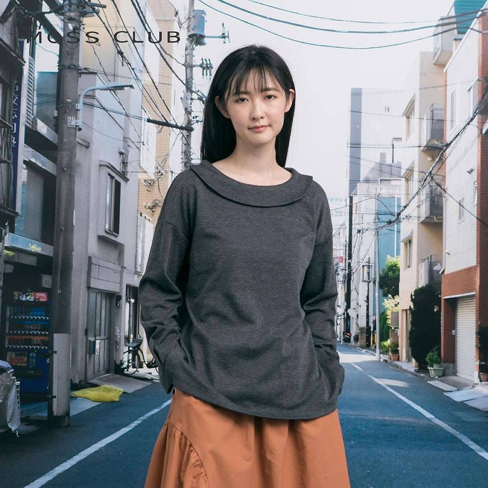 【MOSS CLUB】日系簡約翻領長袖-上衣(灰色)