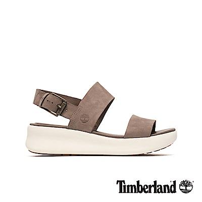 Timberland 女款灰褐色正絨面一字楔型涼鞋|A1XW6