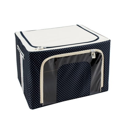 樂嫚妮 66L防潑水雙門單視窗鐵架換季衣物收納箱/折疊收納箱-點點藍
