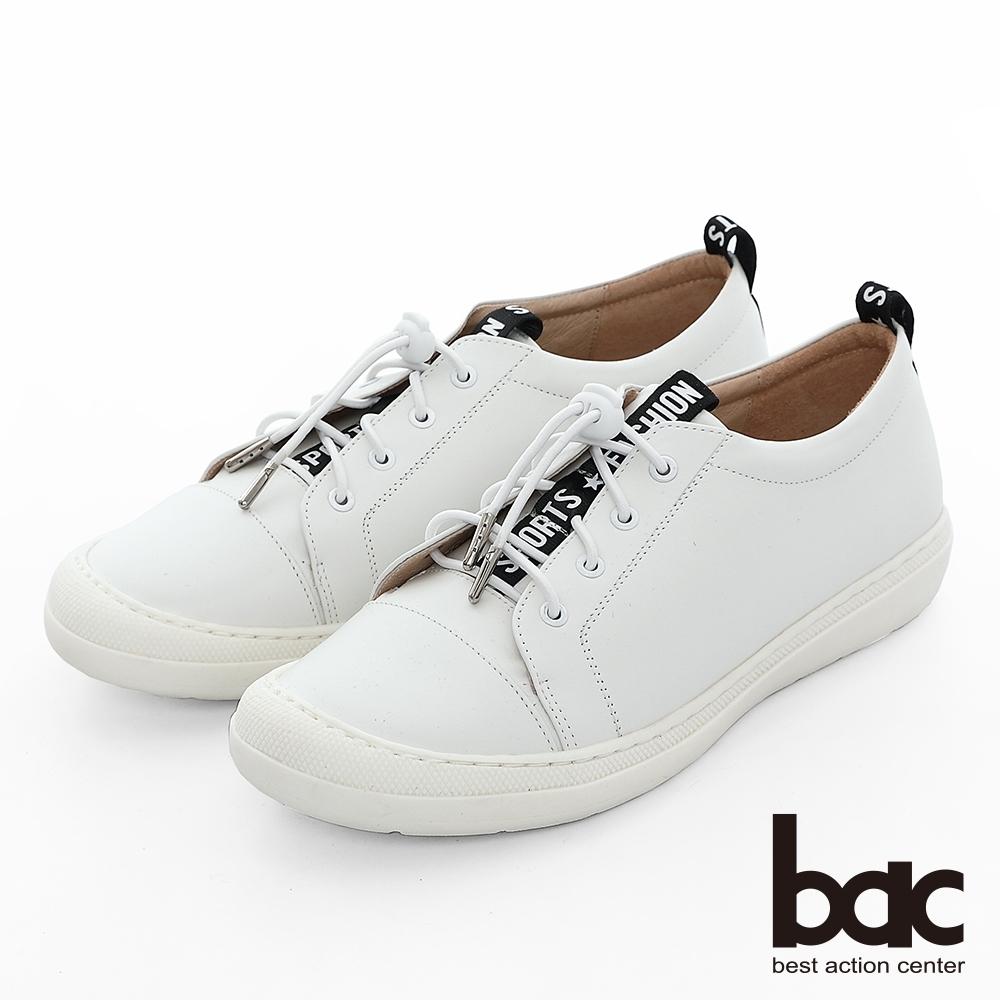 【bac】週末輕旅行 - 標語織帶彈力鞋帶防踢頭平底休閒鞋-白