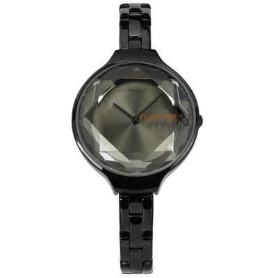 rumba time 紐約品牌 切割玻璃鏡面 日本機芯 不鏽鋼手錶-鍍黑/30mm