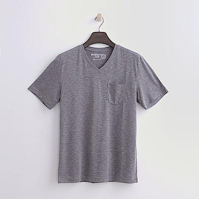 Hang Ten - 男裝 -有機棉 V領口袋竹節T恤-淺灰色